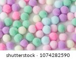 sweet pastel color pom pom... | Shutterstock . vector #1074282590