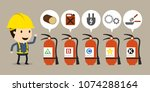 fire different types of... | Shutterstock .eps vector #1074288164