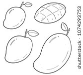 vector set of mango | Shutterstock .eps vector #1074293753
