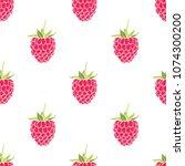 seamless pattern of raspberries ... | Shutterstock .eps vector #1074300200