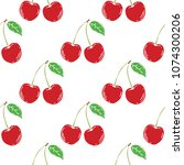 seamless pattern of  herry ... | Shutterstock .eps vector #1074300206