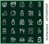 set of 25 food outline icons... | Shutterstock .eps vector #1074305969