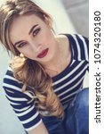 close up portrait of blonde... | Shutterstock . vector #1074320180