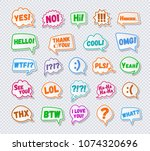 stickers of speech bubbles set... | Shutterstock .eps vector #1074320696