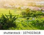 juicy green of golf course...   Shutterstock . vector #1074323618