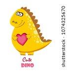 funny cartoon  cute dinosaur  | Shutterstock .eps vector #1074325670