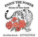 embroidery fashion rose and... | Shutterstock .eps vector #1074327818