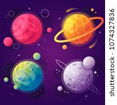 set of cartoon planets in space.... | Shutterstock .eps vector #1074327836