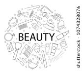 vector beauty pattern with word.... | Shutterstock .eps vector #1074328076
