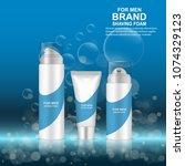 luxury realistic shaving gel... | Shutterstock .eps vector #1074329123
