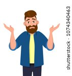 i don't know. man showing... | Shutterstock .eps vector #1074340463