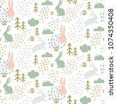 seamless childish pattern with... | Shutterstock .eps vector #1074350408