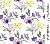 floral seamless pattern with... | Shutterstock .eps vector #1074358580