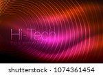 circular glowing neon shapes ... | Shutterstock .eps vector #1074361454