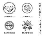 set of neon diamond logos... | Shutterstock . vector #1074361883
