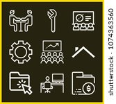 set of 9 work outline icons...