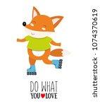 vector illustration of fox on a ... | Shutterstock .eps vector #1074370619