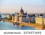 parliament in budapest at... | Shutterstock . vector #1074371693