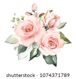 watercolor flowers. floral... | Shutterstock . vector #1074371789