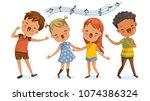 children singing. boys and... | Shutterstock .eps vector #1074386324