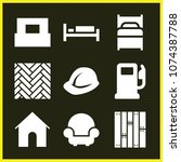 set of 9 buildings filled icons ... | Shutterstock .eps vector #1074387788