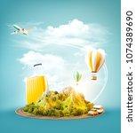 unusual 3d illustration of a... | Shutterstock . vector #1074389690