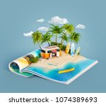 camper van and surf boards on a ... | Shutterstock . vector #1074389693
