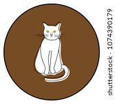 cat icon vector illustration on ... | Shutterstock .eps vector #1074390179