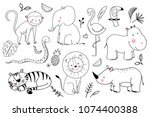 Stock vector vector linear drawing set of cute children s illustrations african animals monkey elephant 1074400388