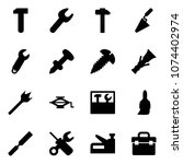 solid vector icon set   work... | Shutterstock .eps vector #1074402974