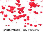 red and pink heart. valentine's ... | Shutterstock . vector #1074407849