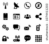 solid vector icon set   antenna ... | Shutterstock .eps vector #1074411203