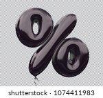 black balloon symbol  ... | Shutterstock . vector #1074411983