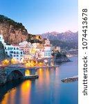 night view of amalfi cityscape... | Shutterstock . vector #1074413678