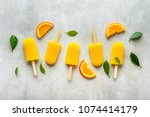 homemade popsicles with orange... | Shutterstock . vector #1074414179