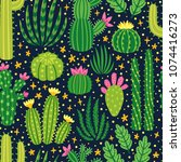 vector seamless pattern with... | Shutterstock .eps vector #1074416273