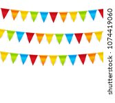 party background with flags ... | Shutterstock . vector #1074419060