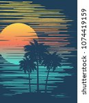 sunset on tropical beach with... | Shutterstock .eps vector #1074419159