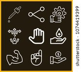 set of 9 hand outline icons... | Shutterstock .eps vector #1074419399