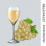 glass of white wine with grapes.... | Shutterstock .eps vector #1074419780