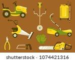 set of garden equipment for... | Shutterstock .eps vector #1074421316