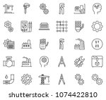 thin line icon set   gear head... | Shutterstock .eps vector #1074422810