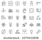 thin line icon set   bulb... | Shutterstock .eps vector #1074422858