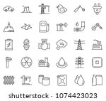 thin line icon set   battery... | Shutterstock .eps vector #1074423023