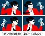 abstract portraits of business... | Shutterstock .eps vector #1074425303