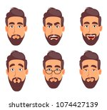 face expressions of business... | Shutterstock .eps vector #1074427139