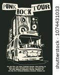 punk rock tour poster flyer... | Shutterstock .eps vector #1074431033