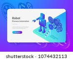 robot android retro style flat... | Shutterstock .eps vector #1074432113