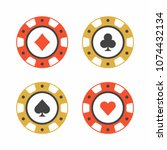 set of casino chips. top view | Shutterstock .eps vector #1074432134