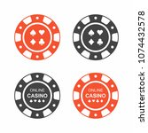 set of casino chips. top view | Shutterstock .eps vector #1074432578